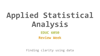 Selecting Statistical Analyses