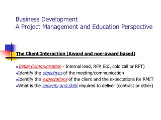 Business Development   A Project Management and Education Perspective
