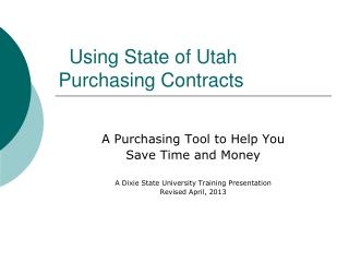 Using State of Utah Purchasing Contracts