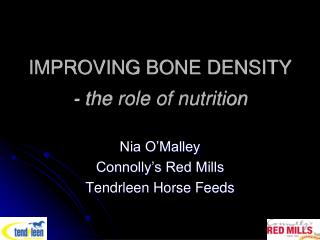 IMPROVING BONE DENSITY - the role of nutrition