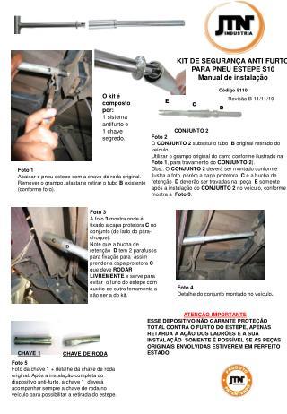 KIT DE SEGURANÇA ANTI FURTO  PARA PNEU ESTEPE S10 Manual de instalação Código 5110