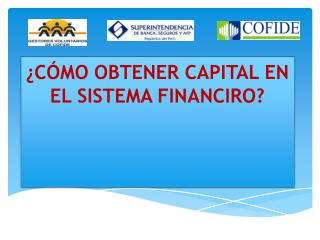 ¿CÓMO OBTENER CAPITAL EN EL SISTEMA FINANCIRO?