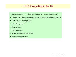 ONCS Computing in the ER