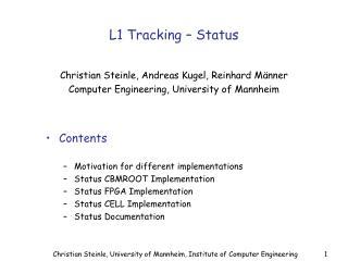L1 Tracking – Status