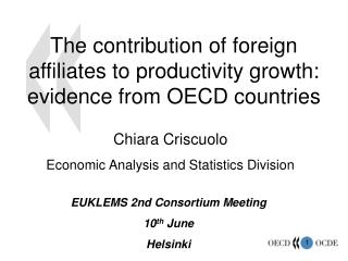 The contribution of foreign affiliates to productivity growth: evidence from OECD countries