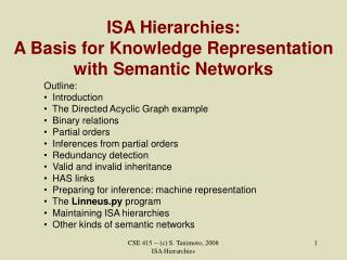 ISA Hierarchies: A Basis for Knowledge Representation with Semantic Networks