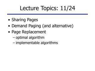 Lecture Topics: 11/24
