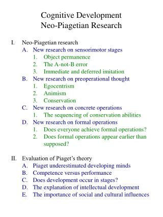 Cognitive Development Neo-Piagetian Research