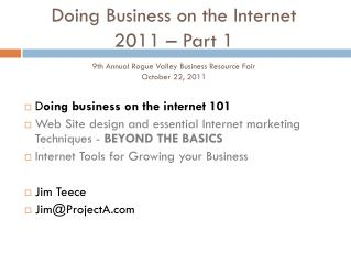D oing business on the internet 101