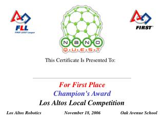 For First Place Champion's Award