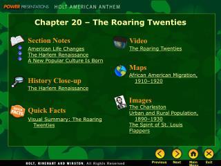 Chapter 20 – The Roaring Twenties