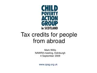 Tax credits for people from abroad