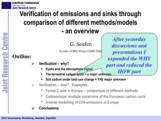 Verification of emissions and sinks through comparison of different methods/models  - an overview