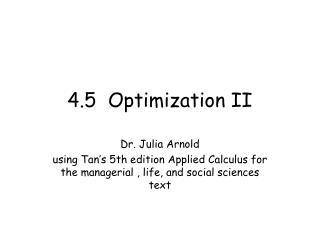 4.5  Optimization II