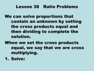 Lesson 38   Ratio Problems