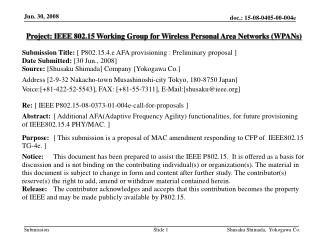 Project: IEEE 802.15 Working Group for Wireless Personal Area Networks (WPANs) ‏