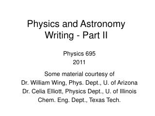 Physics and Astronomy Writing - Part II