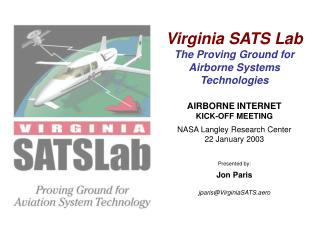 Virginia SATS Lab The Proving Ground for Airborne Systems Technologies