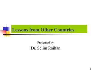 Lessons from Other Countries
