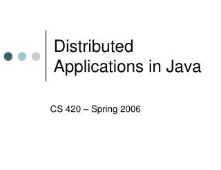 Distributed Applications in Java