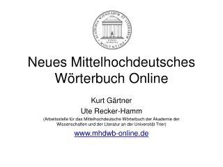 Neues Mittelhochdeutsches W�rterbuch Online