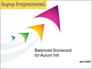 Balanced Scorecard for Aurum Intl