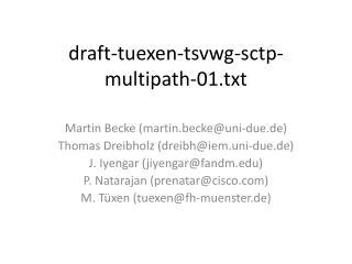 d raft-tuexen-tsvwg-sctp-multipath-01.txt