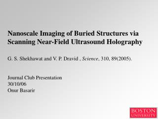 Nanoscale Imaging of Buried Structures via Scanning Near-Field Ultrasound Holography