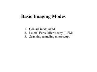 Basic Imaging Modes