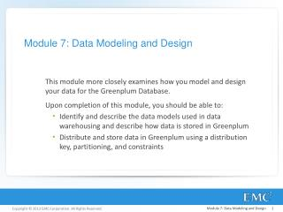 Module 7: Data Modeling and Design
