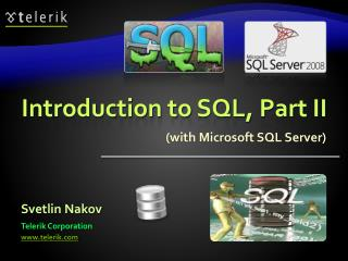 Introduction to  SQL, Part II