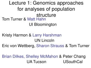 Lecture 1: Genomics approaches for analyses of population structure