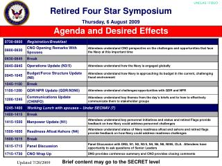Retired Four Star Symposium Thursday, 6 August 2009