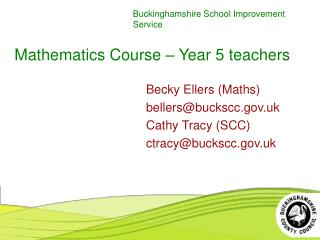 Mathematics Course – Year 5 teachers