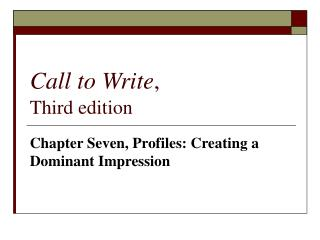 Call to Write , Third edition