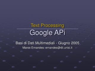 Text Processing Google APi