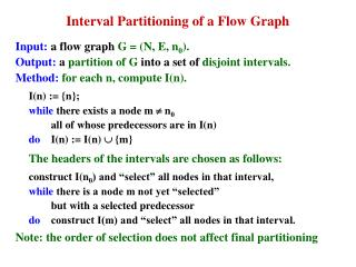 Interval Partitioning of a Flow Graph