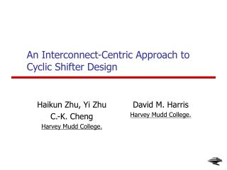 An Interconnect-Centric Approach to Cyclic Shifter Design