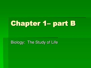 Chapter 1– part B