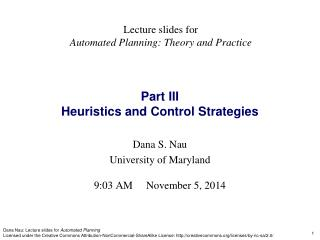 Part III Heuristics and Control Strategies