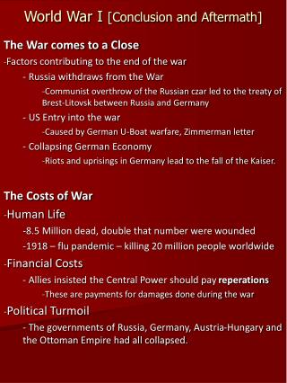 World War I  [Conclusion and Aftermath]