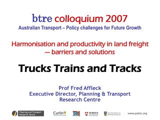 Harmonisation and productivity in land freight          — barriers and solutions
