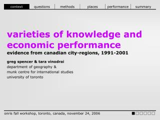 Varieties of knowledge and economic performance  evidence from canadian city-regions, 1991-2001