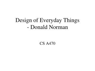Design of Everyday Things - Donald Norman