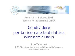 Amalfi 11-13 giugno 2008 Seminario residenziale CIBER Condividere per la ricerca e la didattica