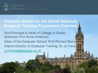 Graduate School for the Social Sciences Research Training Programme Overview
