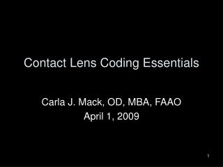 Contact Lens Coding Essentials