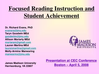 Focused Reading Instruction and  Student Achievement