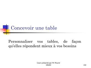 Concevoir une table