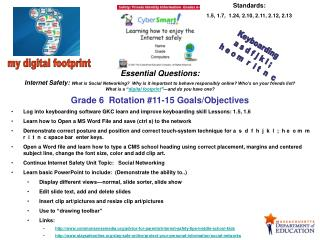 Grade 6  Rotation #11-15 Goals/Objectives